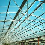 serra tunnel con copertura in policarbonato con apertura al colmo ad ala di gabbiano